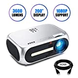 Projector, KUAK HT60 Home Theater Projector, 5' LCD Technology, 3600 Lumens HD Movie Projector, LED Video Projector with 200' Projection Size, Support 1080p 2HDMI 2USB VGA AV