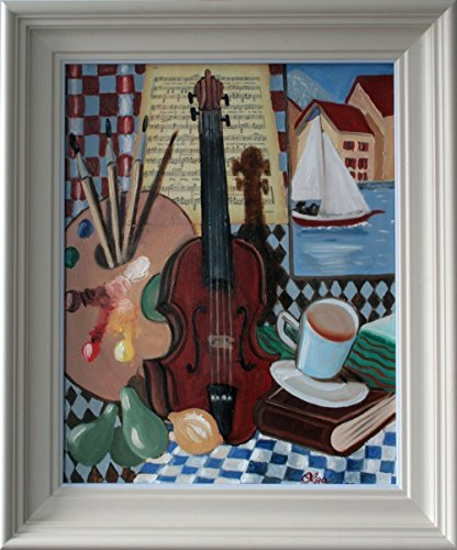 Palette Framed (Still Life with Violin and Palette - Framed Oil Painting, Original & Unique Art from Ireland)