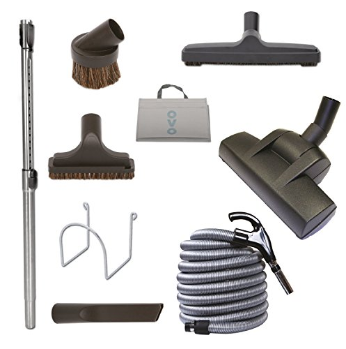 (Nadair Central Vacuum Carpet Attachment Cleaing Tool Kit - Air-Driven Carpet Brush - Multi Brush Set - 35ft Central Vac Dual Votage Switch Control Hose -)