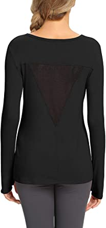 Mippo Womens Long Sleeve Workout Shirts Mesh Open Back Yoga Tops Thumb Hole T Shirt
