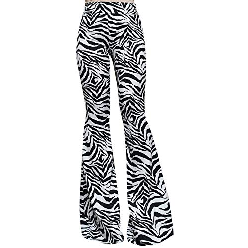 ShopMyTrend SMT Women's High Waist Wide Leg Long Bell Bottom Yoga Pants Medium Zebra