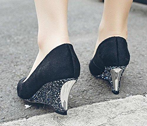 Chaussures Black Talon Femme Compensé à MUYII Pour 1gwd18