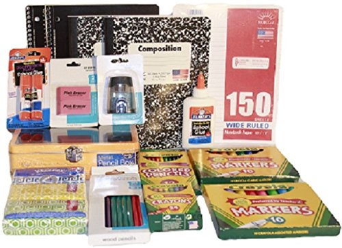 Complete Back to School or College Essentials Supplies Pack Bundle - 16 Items - Composition & Spiral Notebooks Paper Crayons Markers Pencils Erasers Glue Pencil Box Case Sharpener Kleenex Kit (Pink)