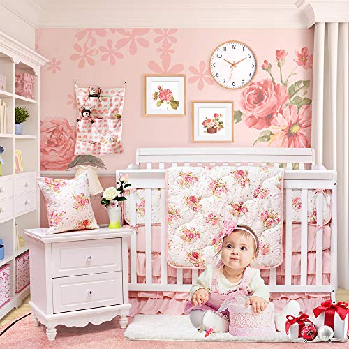 (Brandream Floral Baby Bedding Set for Girls Crib Bedding Set with Bumper Pads Luxurious Princess Nursery Bedding, Blush Rose Flowers Printed, 8 Pieces)