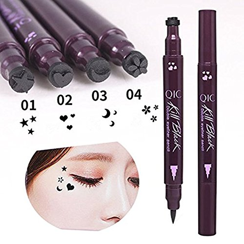 Eyeliner Stamps, Waterproof Black Liquid Eyeliner Pen Star Heart Moon Flower Shape Stamps Tattoo Eyes Liner Makeup Tools, 4 Pcs/Set ()
