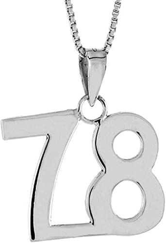 2mm Curb Chain Sterling Silver Number 68 Necklace for Jersey Numbers /& Recovery High Polish 3//4 inch