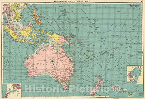 (Historic Map | 1922 Australasian, Polynesian Ports. | Vintage Wall Art | 65in x 44in)