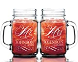 Stocking Factory Custom Etched Mr. Mrs. Personalized Mason Mugs, Set of 2, Clear
