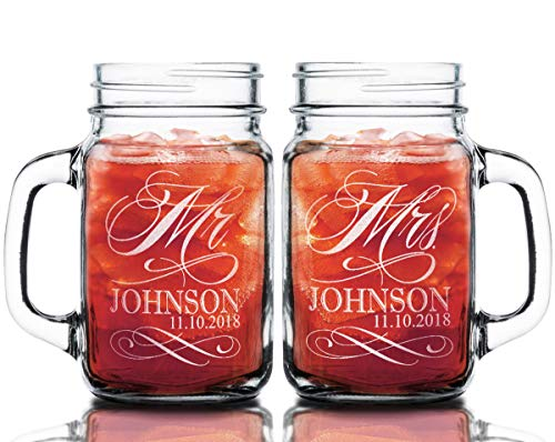 Stocking Factory Custom Etched Mr. Mrs. Personalized Mason Mugs, Set of 2, Clear -