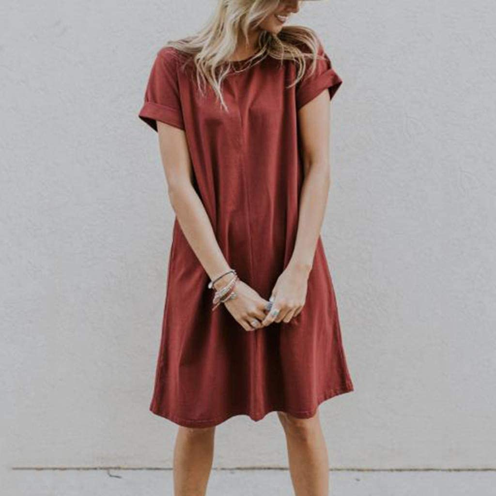 Red,M Tunic Dresses For Women Fashion Solid O-Neck Short Sleeve Loose Brief Casual Mini Daliy Dress For Anniversary,Party,Valentines Day