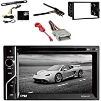 Pyle PLDN63BT 6.5 2-DIN In-Dash Touch Screen BT Receiver w/Pyle License Plate Mount Rear View Color Camera, Metra 2-DIN Installation Kit for Radio,Metra Antenna Adapter & Metra Radio Wiring Harness