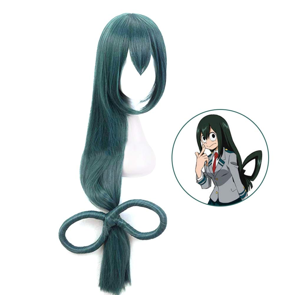 Bowinr Cosplay Wig for My Hero Academia, All Might, Izuku Midoriya, Todoroki Shoto, Katsuki Bakugou, Synthetic Hair Wigs for Anime-Fans (Asui Tsuyu)