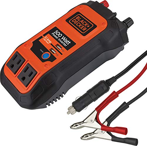 BLACK+DECKER PI500B 500W Power Inverter: Dual Pivoting 120V AC Outlets, 2A USB Port, 12V DC Adapter, Battery Clamps