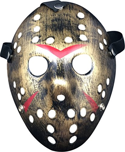 Friday the 13th Jason Hockey Horror Deluxe Mask,Copper (Hockey Mask Halloween Costume)