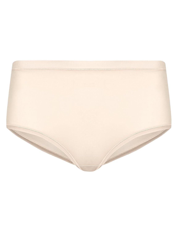 Ex M/&S Ultimate Comfort Flexifit 4 Way Stretch Midi Knickers Black Almond Pink