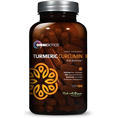 Organic Turmeric Curcumin Supplement 1500mg with BioPerine | 95% Standardized Curcuminoid Extract & Organic Root Powder with Piperine Black Pepper Fruit (10mg), 120 Vegetarian (Pepper Fruit)
