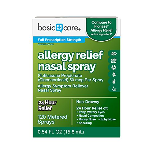Basic Care Allergy Relief Nasal Spray, Fluticasone Propionate (Glucocorticoid) 50 mcg Per Spray, 120 Metered Sprays 0.54 FL OZ