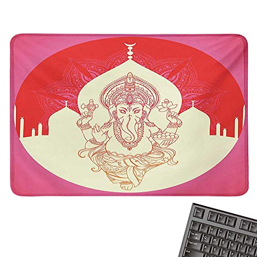 - Elephantcomputer Mouse padAncient Elephant Character with Asian Temple Medallion Yoga Zen Retro StyleBlack Cloth Mousepad 15.7