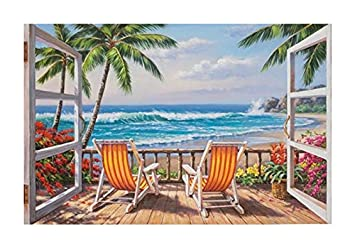 Wooden Framed Diy Oil Painting Paint By Number Home Decor Wall Picture Value Gift Christmas Gift-Look out the window to see the sea 16x20 inch