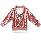 Speechless Big Girls' Crushed Velvet Jacket with Top, Sequin Bow Mauve, M