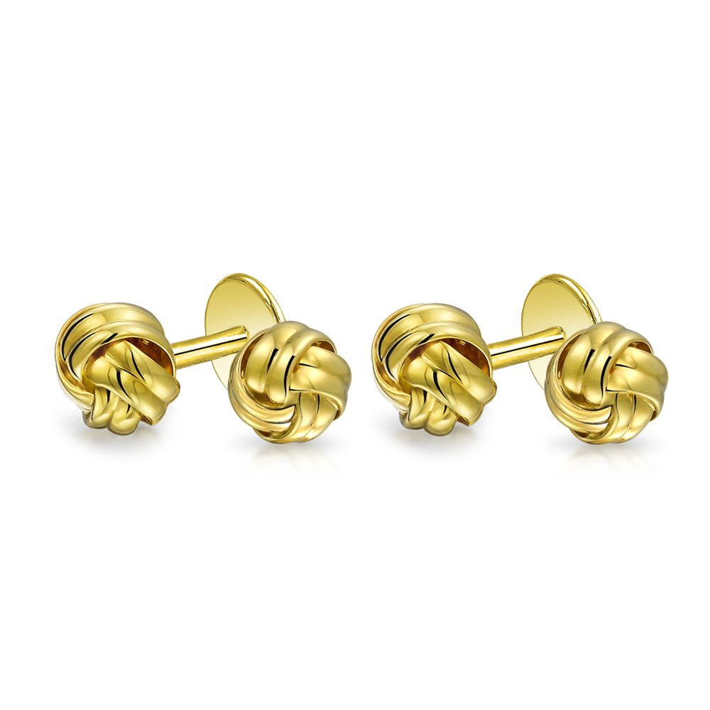 Bling Classic Gold Plated Sterling Silver Single Woven Love Knot Shirt Studs Set