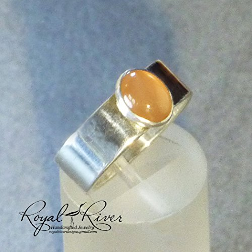 Peach Moonstone Ring (Classic Wide Band Misty Peach Moonstone Ring FREE SHIPPING)