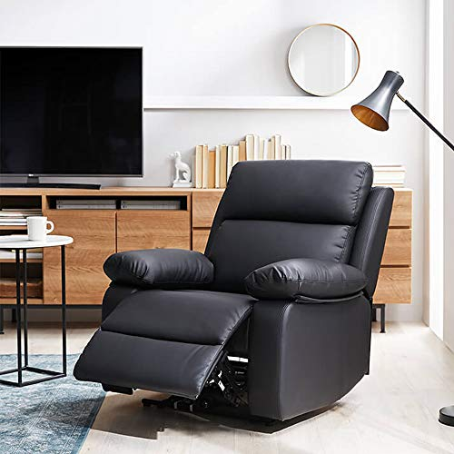 FURNY Casafurnish Denis One Seater Leatherette Manual Recliner for Seating Deep and Ultra Relaxing  Black