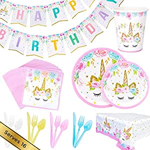 Unicorn Birthday Party Supplies Set for Girls: Gorgeous Pink & Gold Plates, Cups, Napkins, Utensils, Bunting Banner, Table Cover - Total 126 Pieces, Serves 16 Guests