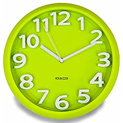 3D Modern Contemporary Wall Clock - 12 Round Green