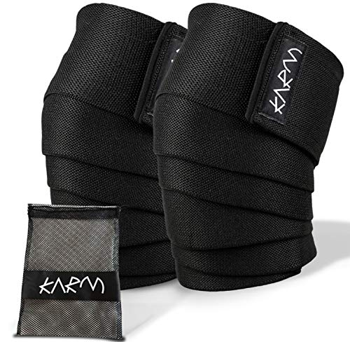 Knee Wraps for Weightlifting with Bag (Pair) - Best Knee Wraps for Squatting & Knee Bands for Crossfit, Gym, Pain, WOD, Cross Training. Black Powerlifting Knee Support for Women, Men (78 inches)