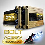 OPT7 Bolt AC 55w HID Kit & Relay Harness for High Beam - 5x Brighter - 6x Longer Life - All Colors and Sizes - 2 Yr Warranty - Bulbs and Ballasts [H11 H8 H9 - 6K Lightning Blue Xenon Light]