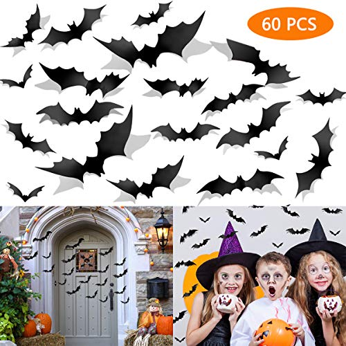 Yomiie Halloween Bats Wall Decals Decoration 60 Pcs Window Stickers Vintage Scary Clings Halloween Party Supplies Indoor Outdoor Decor