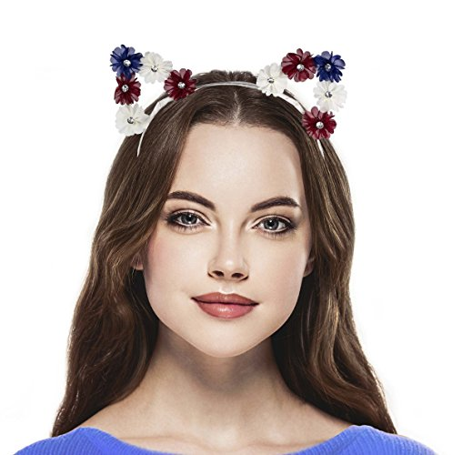 Lux Accessories Red White and Blue Americana Flower Cat Ear - Flowers Cat Shaped