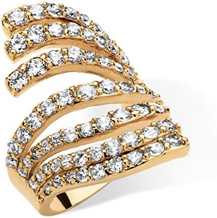 18K Yellow Gold-plated Round Cubic Zirconia Multi Row Wraparound Ring