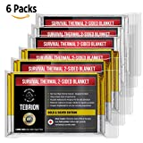 TEBRION Emergency Foil Authentic Mylar Thermal Blankets (Large 63''x82'') 6-Pack/12-Pack - Designed for NASA - Perfect for Emergency First Aid Kit, Bug Out Bag, Survival, Hiking, Auto, or Outdoors (6)