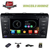 Double Din Head Unit Navigation for Mazda 3 2003-2009 Car Stereo with DVD CD Player with Remote Control Bluetooth Steering Wheel Control Mirrorlink Radio RM 7 WINCE 6.0