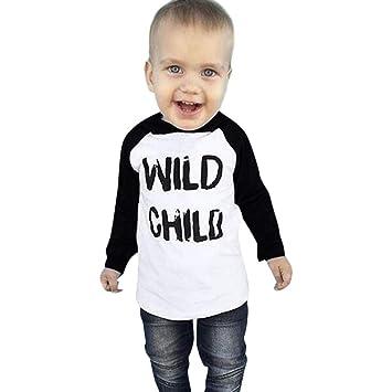 6ac5772ef Amazon.com  Toddler Baby Kids Tops Boys Girls Long Sleeves Letter ...