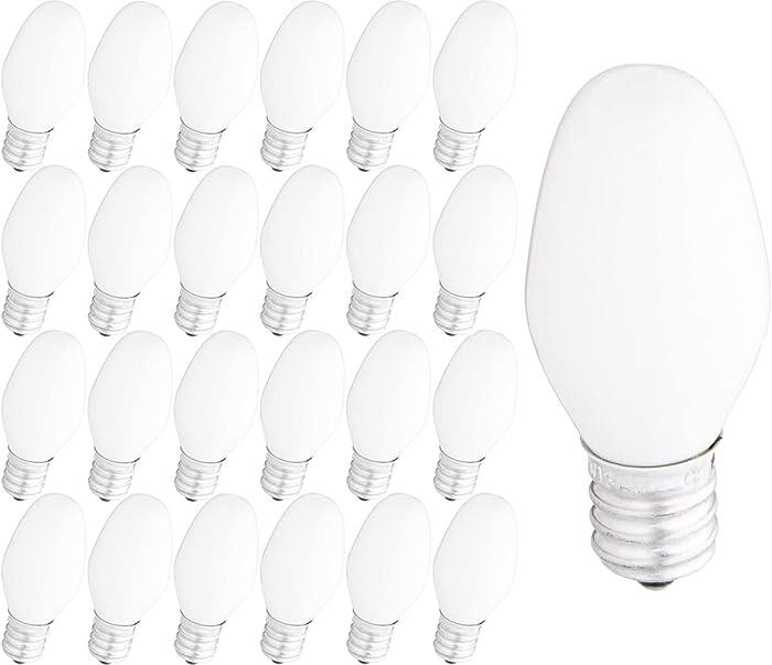 GE 2X-Life C7 Night Light Bulbs 4-Watt, White, 24-Pack