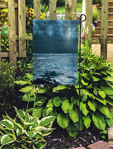 Semtomn Outdoor Decorative Garden Flag Rising Full Moon Over Sea and Rocks in Cloudy House Yard Flag 28