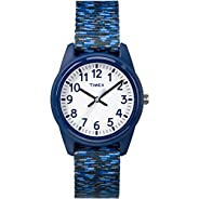 Timex Boys TW7C12000 Time Machines Analog Resin Dark Blue/White Sport Elastic Fabric Strap Watch