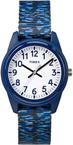 Timex Boys TW7C12000 Time Machines Analog Resin Dark Blue/White Sport Elastic Fabric Strap Watch