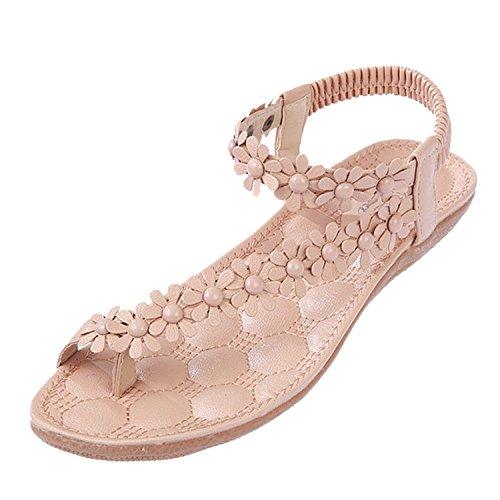Infradito con scarpe 1 Fiori casual Sandali Piatte Donne Boemi Rosa Minetom d'estate Elastici Accessorio Dolci Vacanza qpxt5