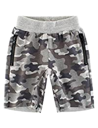 Moonker Baby Boys Girls Kids Summer Camouflage Zipper Casual Pocket Elastic Shorts for 1-6 Years Old
