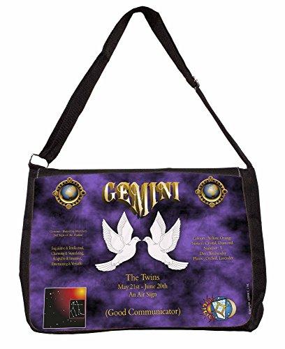Gemini Star Sign Birthday Gift Large 16 Black School Laptop Shoulder Bag