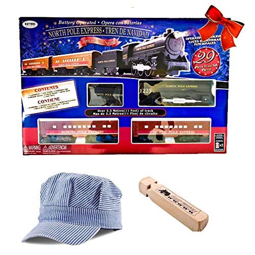 North Pole Express 29 Piece Battery Operated Train Set Locomotive with Bonus Conducters Hat & Train Whistle
