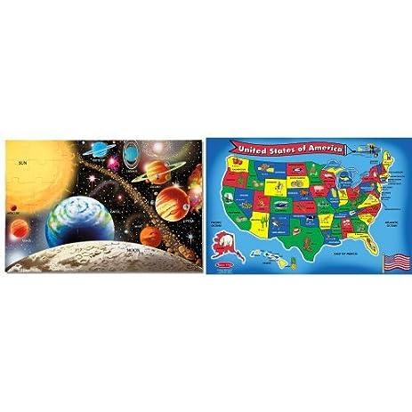 melissa doug solar system 48 pcs floor puzzle and usa map 51 pcs floor puzzle