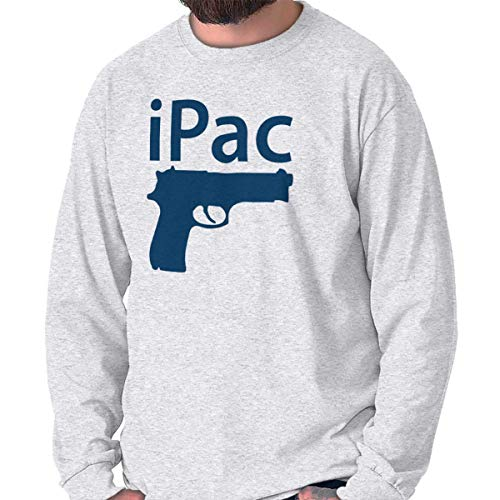 - Brisco Brands iPac Arms Bullets Rifle Cool Funny Graphic Long Sleeve T Shirt Ash Grey