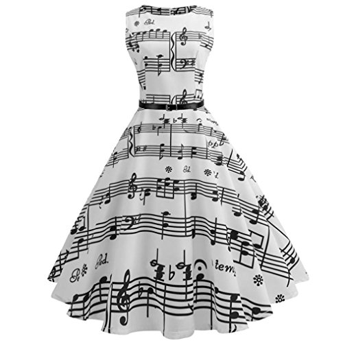 Hepburn Musical Notes Pleated ,Letdown,Women O-Neck Vintage Printing Sleeveless Casual Evening Party Prom Swing Dress+Sashes (2XL) (Pleated Sash)