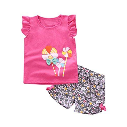 Pour Floraux Vêtements Enfant 6mois Bébé Sucette 3 T Rose Fille Hauts Ensemble Filles De Pantalons Chaud Shorts ❤️ensembles Amlaiworld Enfants Costume Shirt Ans 7SCwP7aq
