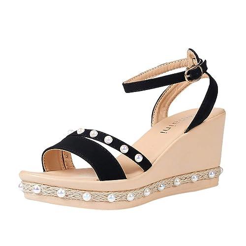 Summer Women/'s Sandals Heels Wedges Platform High Heel Peep Toe Buckle Shoes